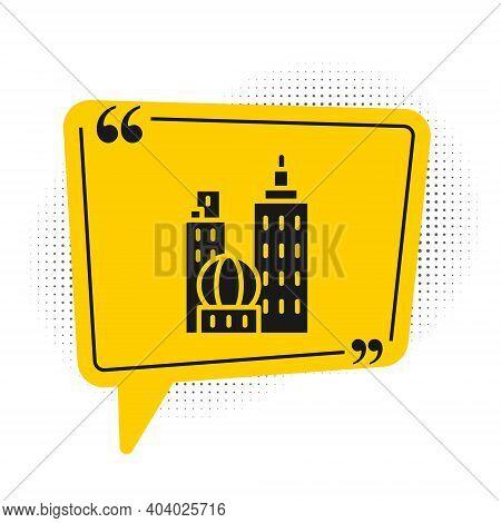 Black City Landscape Icon Isolated On White Background. Metropolis Architecture Panoramic Landscape.