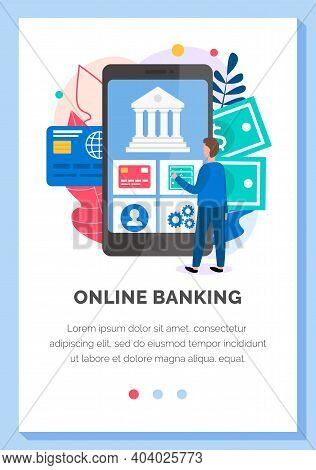 Business Application Layout. Program For Online Banking And The Bank Operations Flat Vector Illustra