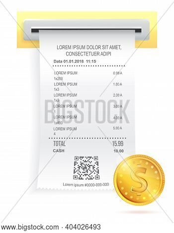 Payment Check Paper Document Poked Out Of The Cash Register Near A Shiny Gold Coin With Shadow. Buyi