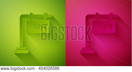 Paper Cut Hanging Sign With Text Rent Icon Isolated On Green And Pink Background. Signboard With Tex