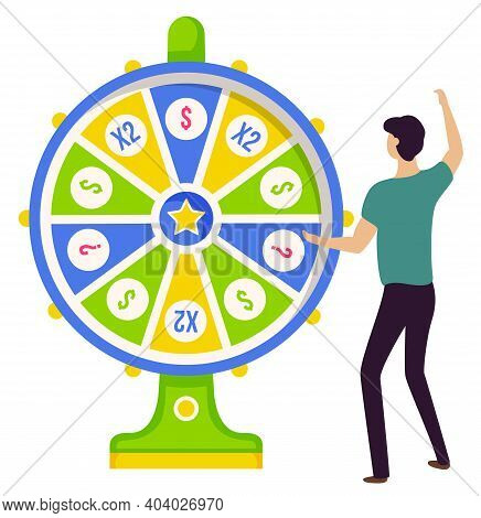 Gambler And Game Of Luck, Fortune Wheel And Win, Risk And Money Vector. Casino And Opportunity, Priz
