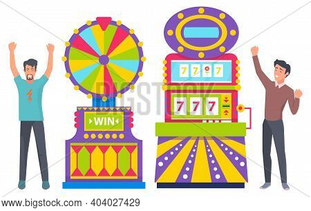Gamblers Playing Game Machine, Casino Element. Success Of People Characters, Men With Rising Hands,