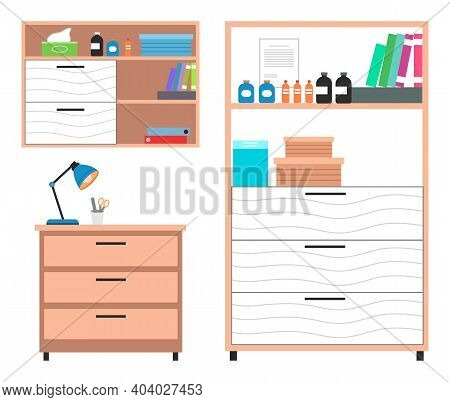 Set Of Medical Furniture For Examining Animals, Cabinet On Wheels. Table Lamp, Medical Cabinet, Exam