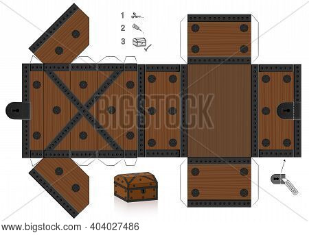 Treasure Chest Template. Cut Out, Fold And Glue It. Paper Model With Lid That Can Be Opened. Wooden