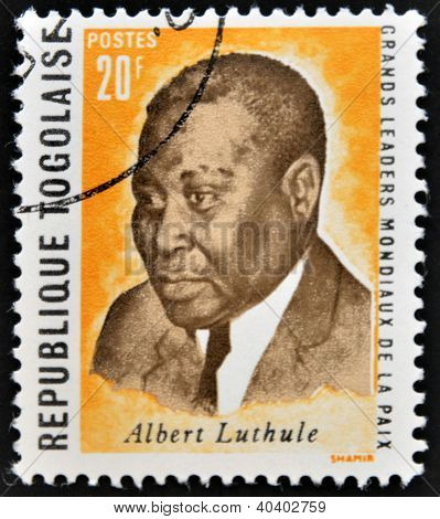 REPUBLIC OF TOGO - CIRCA 1969: A stamp printed in Togo dedicated to great world leaders of peace sho