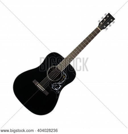 Musical Instrument - Black Acoustic Guitar Country Flower Bird Pickguard Isolated On A White Backgro
