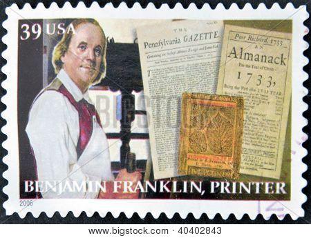 UNITED STATES OF AMERICA - CIRCA 2006: A stamp printed in USA shows Benjamin Franklin printer circa