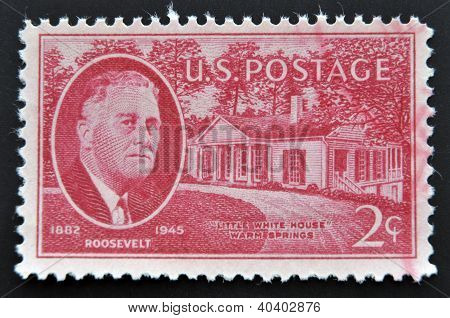 UNITED STATES OF AMERICA - CIRCA 1945: Stamp printed in USA shows Franklin Delano Roosevelt and litt