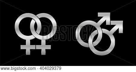 Lesbian And Gay Love Symbols, Silver Emblem Style, Isolated Vector Logo Illustration On Black Backgr
