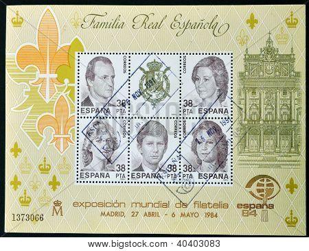 SPAIN - CIRCA 1984: Collection stamps shows Spanish royal family circa 1984