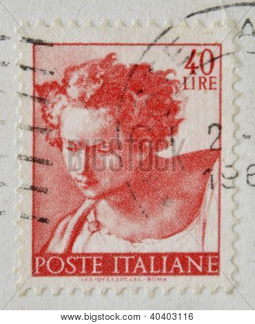 ITALY - CIRCA 1961: A stamp printed in Italy shows Daniel fragment of painted ceiling of the Sistine