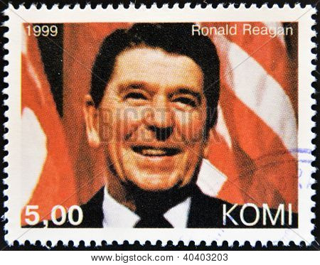 KOMI - CIRCA 1999: A stamp printed in Komi shows Ronald Reagan circa 1999
