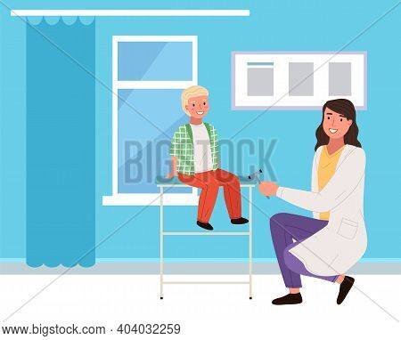 Doctor Knocks On The Knee With A Special Hammer To Check Reflexes. Boy At Neurologist S Appointment.
