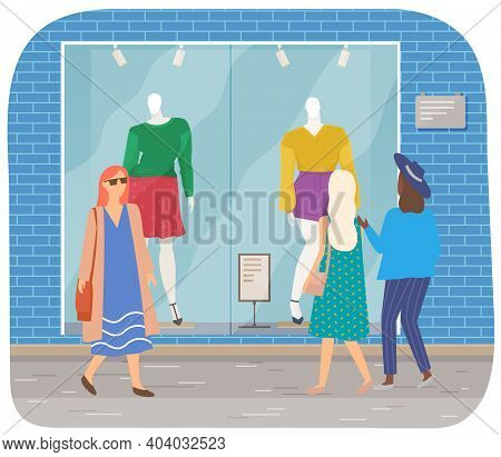 Female Characters Walking On The Street Of City. Women Are Looking At Store Window. Cartoon Characte