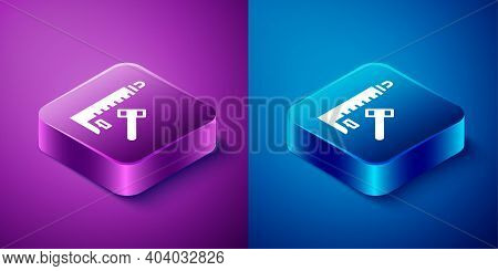 Isometric High Striker Attraction With Big Hammer Icon Isolated On Blue And Purple Background. Attra