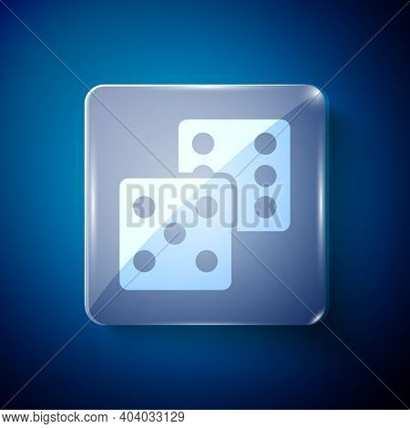 White Game Dice Icon Isolated On Blue Background. Casino Gambling. Square Glass Panels. Vector