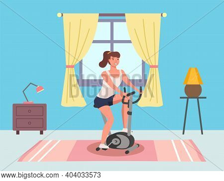 Woman Doing Cycling Exercise. Illustration Of Female With Bike Trainer Doing Sports At Home. Cardio