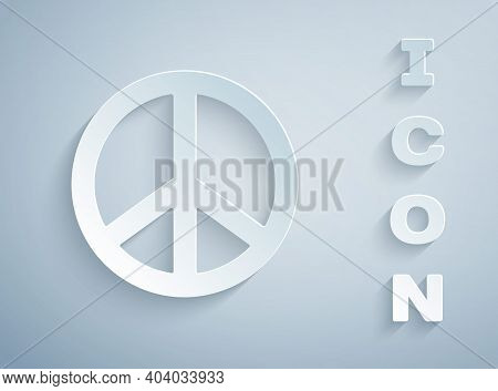 Paper Cut Peace Icon Isolated On Grey Background. Hippie Symbol Of Peace. Paper Art Style. Vector