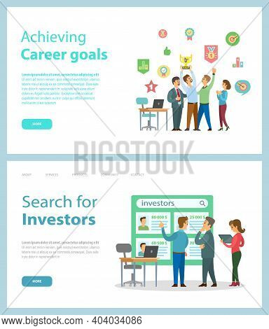 Achieving Career Goals And Search For Investors Website Vector. Business And Motivation Banners. Off