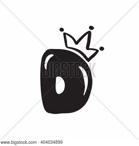 Vector Plump Vintage Cute Letter D With Crown. Princess Element Font Logo. Valentine Hand Drawn Alph