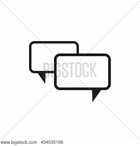 Two Black Line Chat Speech Bubbles Isolated On White Background. Vector Flat Icon. Dialog, Forum,mes