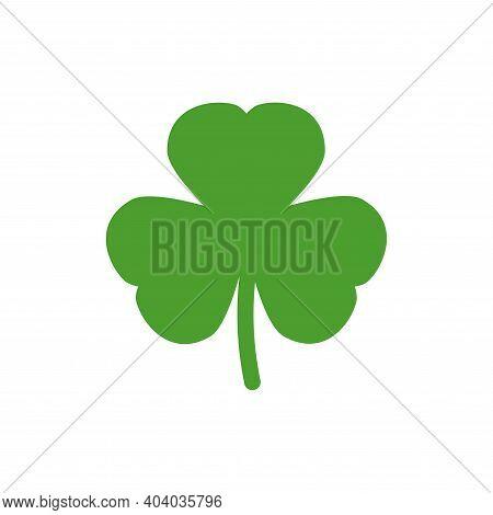 Green Shamrock Illustration Isolated On White. Clover Three Leaf Flower. St Patrick Day Vector. Iris