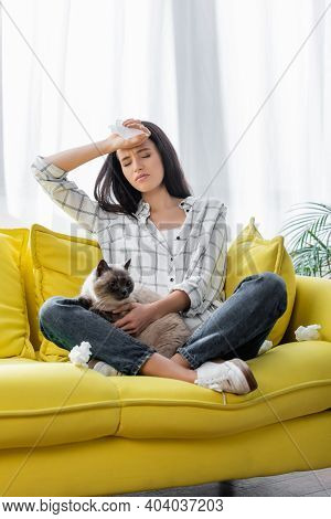 Allergic Woman Suffering From Headache While Sitting On Sofa With Cat