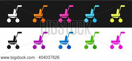 Set Baby Stroller Icon Isolated On Black And White Background. Baby Carriage, Buggy, Pram, Stroller,