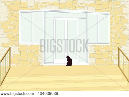Wood Patio Doors And A Black Cat