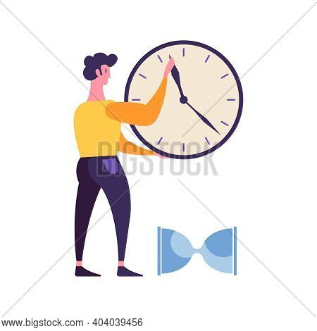 Effective Time Management Flat Concept With Male Character Clock Hour Glass Vector Illustration