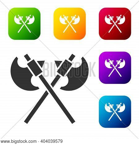 Black Crossed Medieval Axes Icon Isolated On White Background. Battle Axe, Executioner Axe. Medieval