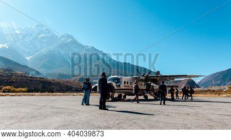 Jomsom, Nepal - November 20, 2017: Light Passenger Aircraft Landed At The Jomsom Airport In Himalaya