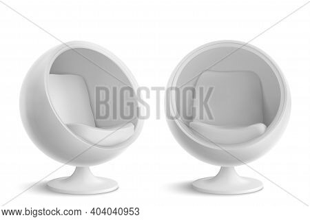 White Ball Chair, Designers Furniture For Modern Stylish House Or Office Interior In Front And Angle