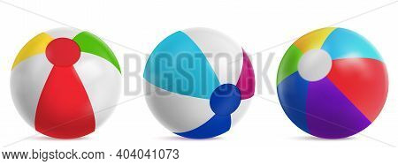 Inflatable Beach Ball, Striped Air Balloon For Play In Water, Swim Pool Or Sea. Vector Realistic Set