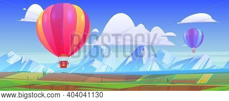 Hot Air Balloons Fly Above Mountain Landscape With Green Meadows And Fields In Valley. Vector Cartoo