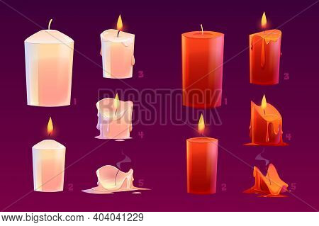 Cartoon Candles Burning Motion Sequence Animation Glowing And Extinct Lights With Melted Wax. Elemen