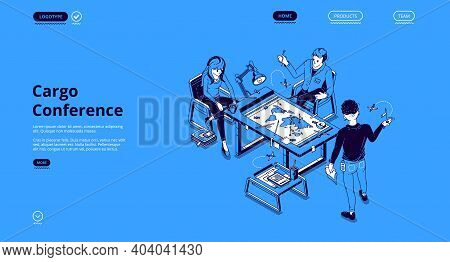 Cargo Conference Isometric Landing Page, Business People Discuss Global Freight Distribution At Desk