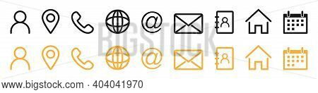 Contact Icons Collection. Contact Us Set In Outline Style. Avatar, Location, Phone And Website Symbo