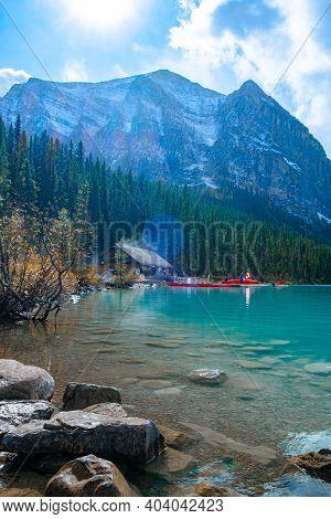 Lake Louise Canadian Rockies Banff National Park, Beautiful Autumn Views Of Iconic Lake Louise In Ba