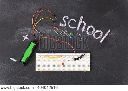 Electrical Circuit Assembled On Breadboard. Breadboard Electrical For Learn For Beginners And Electr