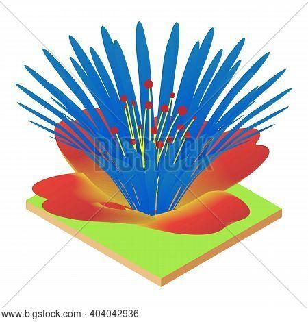 Variegated Flower Icon. Isometric Illustration Of Variegated Flower Vector Icon For Web