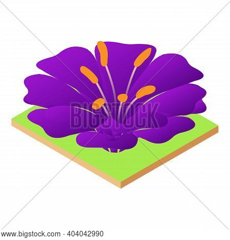Violet Flower Icon. Isometric Illustration Of Violet Flower Vector Icon For Web