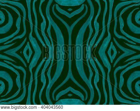 Seamless Ethnic Pattern. Fashion Tribal Textile Design. Geometric African Background. Green Zebra Sk