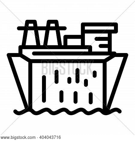 Hydro Power Factory Icon. Outline Hydro Power Factory Vector Icon For Web Design Isolated On White B