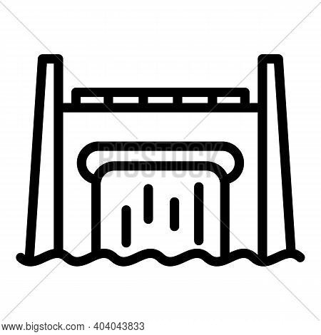 Hydro Power Station Icon. Outline Hydro Power Station Vector Icon For Web Design Isolated On White B