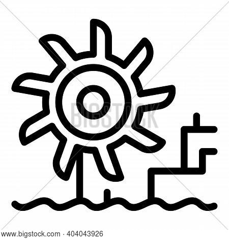Hydro Power Turbine Station Icon. Outline Hydro Power Turbine Station Vector Icon For Web Design Iso