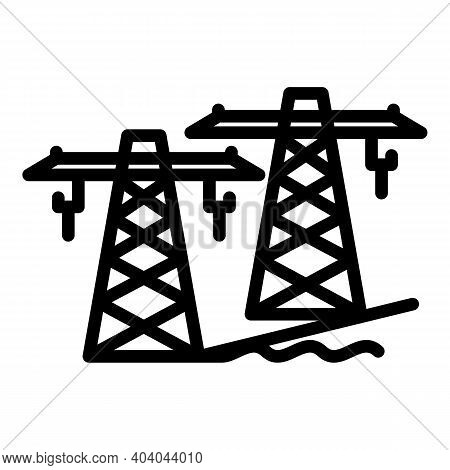 Hydro Power Electric Tower Icon. Outline Hydro Power Electric Tower Vector Icon For Web Design Isola