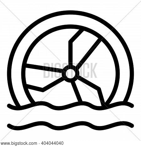 Hydro Power Thermal Wheel Icon. Outline Hydro Power Thermal Wheel Vector Icon For Web Design Isolate