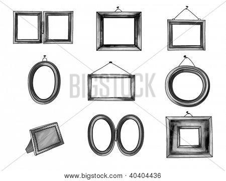 Graphite Frames - Set of hand drawn picture frames in pencil-gray color palette, line art