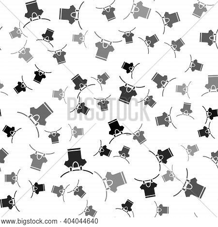 Black Drying Clothes Icon Isolated Seamless Pattern On White Background. Clean Shirt. Wash Clothes O